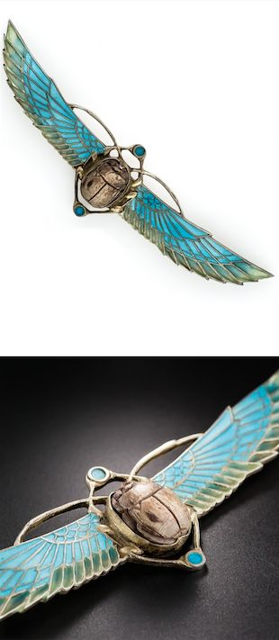 *Plique-a-Jour Enamel Egyptian Revival Scarab Brooch in Silver Circa 1920s, With a wingspan of 4 and 3/4 inches, this soaring Egyptian Revival scarab brooch glows with translucent turquoise blue and shaded green plique-a-jour enamel. Crafted in 800 silver (possibly German or Austrian origin) - exotically striking and beautiful.