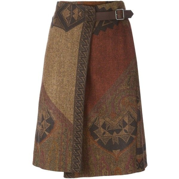Brown, black and red wool-silk blend woven wrap skirt from Etro featuring a woven design and a side buckle fastening.