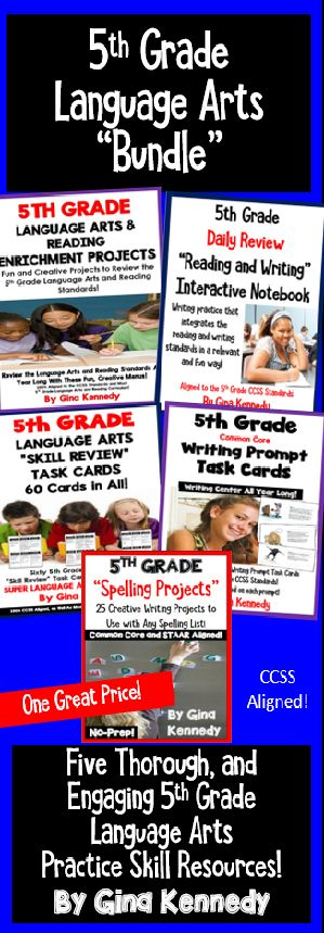 Five, no-prep 5th grade language arts and reading resources that review the language arts and reading standards! Five of my best selling 5th grade language arts resources that include task cards, daily reading/writing review warm-ups, enrichment projects, spelling projects and writing prompts for one great price. Every resource is aligned to the 5th grade Common Core language arts and reading standards.$