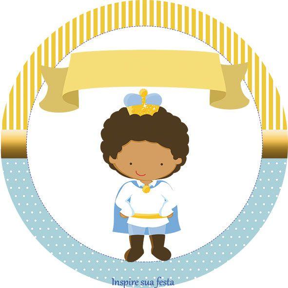 Tag ou topper para docinho cupcake Rei Moreno Azul e Dourado