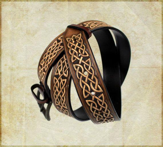 Celtic tooled leather belt  by FantasyLeatherCraft on Etsy