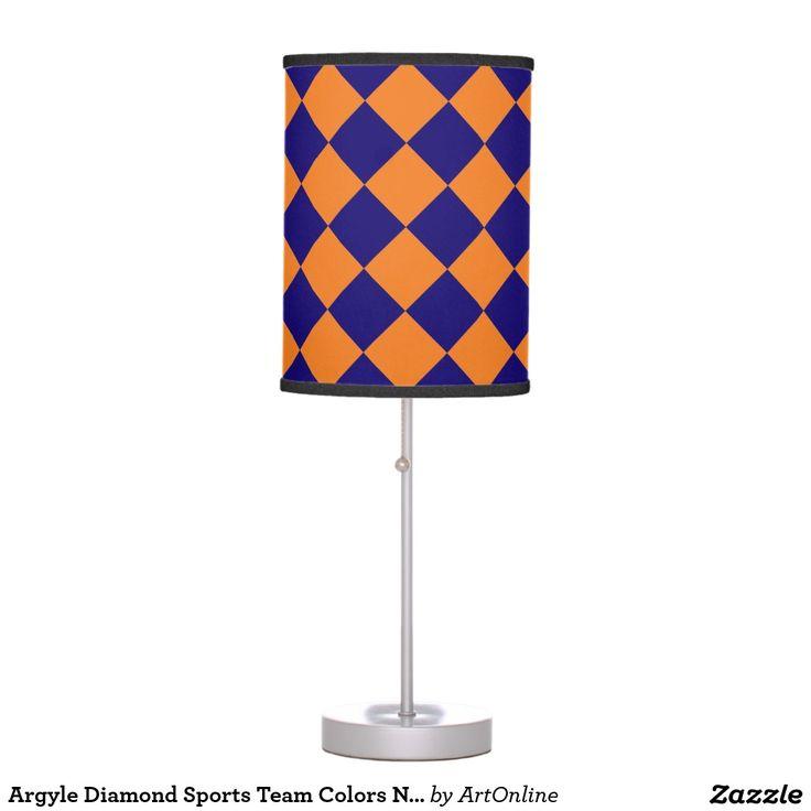 argyle diamond sports team colors navy blue orange table lamp