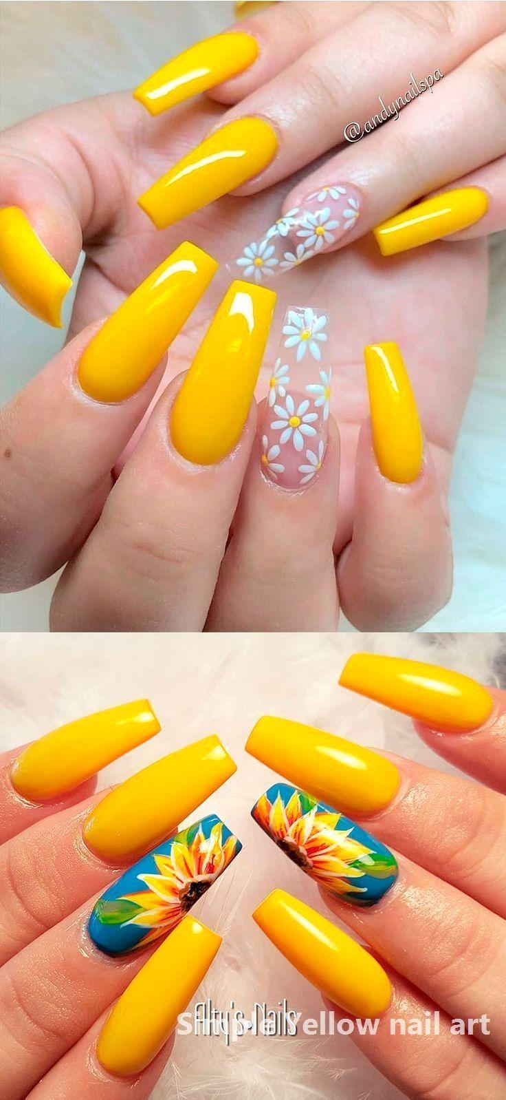 23 Great Yellow Nail Art Designs 2020 Naildesigns In 2020 Yellow Nails Design Nail Designs Summer Acrylic Yellow Nail Art
