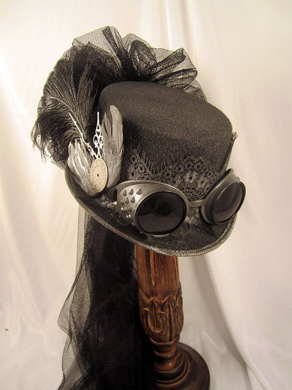 Steampunk hat - Gun Metal Riding Hat with Goggles, Wings and Netting - Ladie's Steampunk Hat