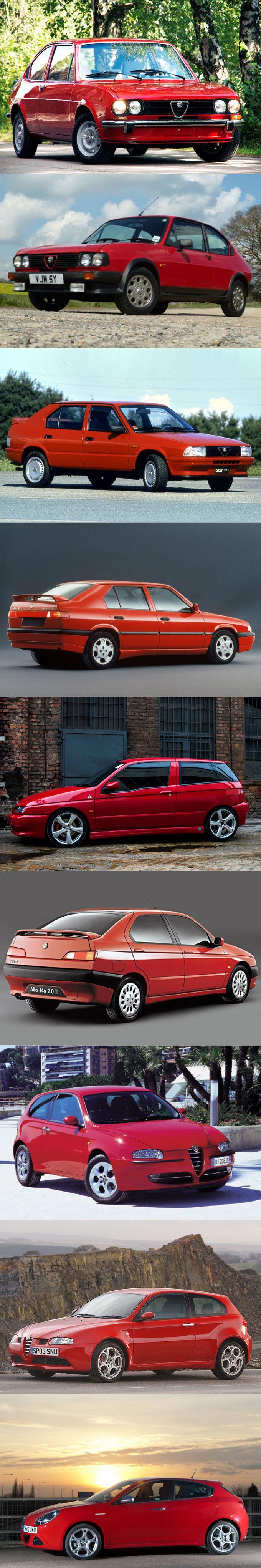 Alfa Romeo compact car / 1971 Alfasud / 1980 Alfasud facelift / 1983 33 / 1990 33 facelift / 1994 145 / 1995 146 / 2000 147 / 2004 147 facelift / 2010 Giulietta / Italy / red / GTA