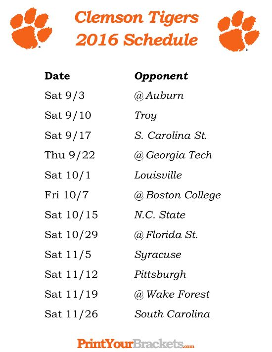 Printable Clemson Tigers Football Schedule 2016