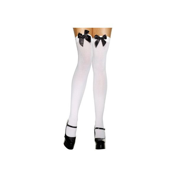 EM1708 White Stay Up Opaque Stockings with Black Bow ❤ liked on Polyvore featuring intimates, hosiery, tights, socks, black opaque tights, thigh-high tights, white opaque tights, black stockings and white thigh high stockings