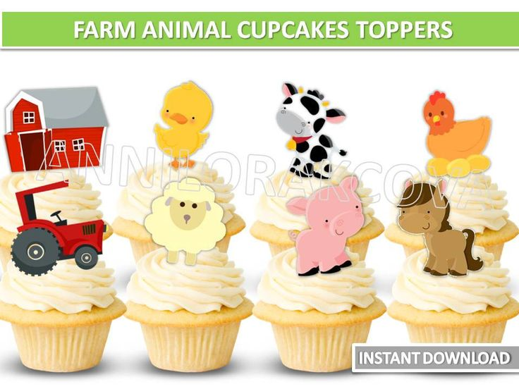 Farm animals cupcake toppers/ farm animal Printables/ Barnyard Animal Cupcake Toppers/ Instant Download / You Print 60% OFF by ANNILORACK on Etsy