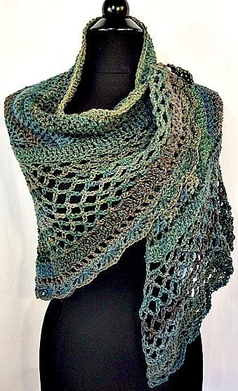 Crocheted Scarf, Crocheted Wrap, Crocheted Shawl, Turquoise, Blue and Green colors with Mauve highlights, Wearable Art, GracefulEweFiberArts by GracefulEweFiberArts on Etsy