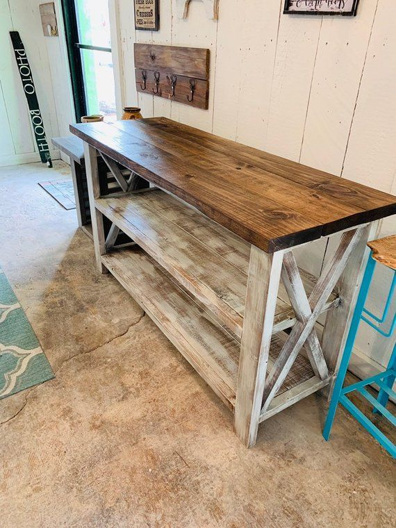 Bring This Beautiful Rustic Wooden Buffet Table Into Your Home This Farmhouse Decor Can Be Used As A Bu Rustic Console Tables Farmhouse Buffet Rustic Consoles