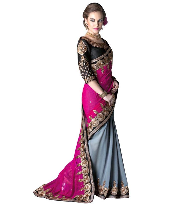 Naksh - Splendid Deep Pink and Grey Designer saree