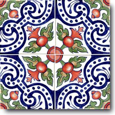 Hand Painted Ceramic Decorative Tile: Spanish, Stylized Art of the Time of Moorish Spain.
