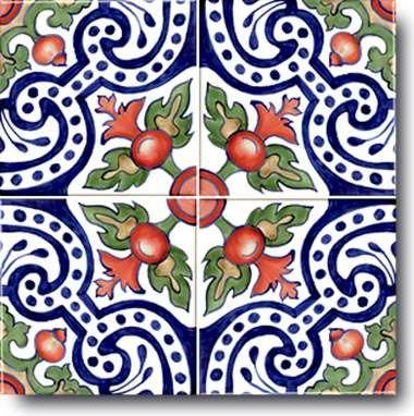 Hand Painted Ceramic Decorative Tile: Spanish, Stylized Art of the Time of Moorish Spain.
