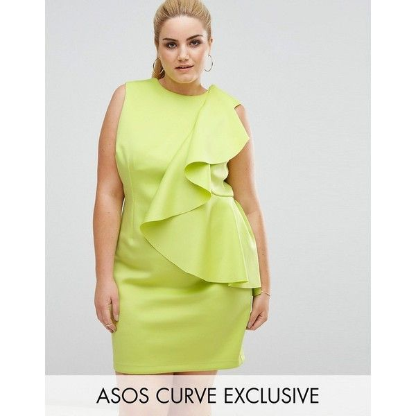 ASOS CURVE Mini Dress with Structured Scuba Ruffle ($71) ❤ liked on Polyvore featuring dresses, green, plus size, plus size shift dress, green maxi dress, plus size dresses, party dresses and shift dresses