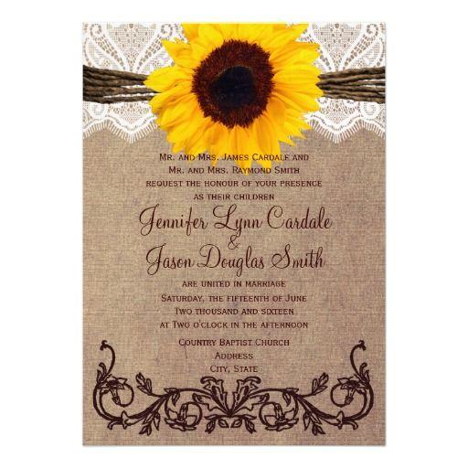Cheap Rustic Wedding Invitations: Rustic Country Sunflower Wedding Invitations