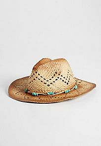 tea stained cowboy hat with faux turquoise stone embellished band