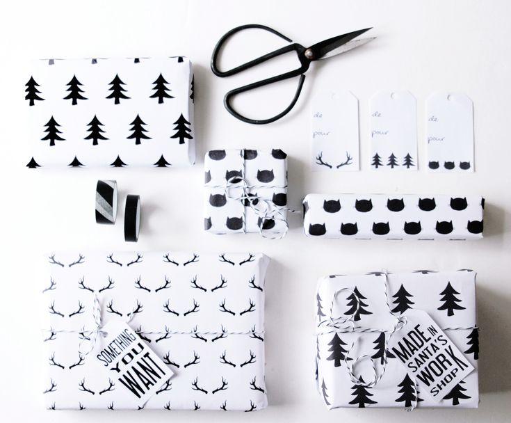 Nous vous avons concocté des papiers cadeaux (cerfs, sapin et chat) ainsi que de étiquettes à télécharger gratuitement et à imprimer chez vous.