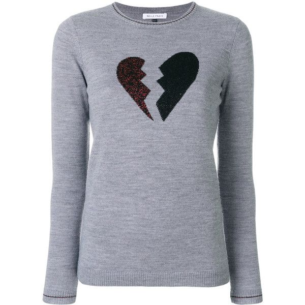 Bella Freud Heart Breaker sweater (45050 DZD) ❤ liked on Polyvore featuring tops, sweaters, grey, long sleeve tops, metallic sweater, metallic top, round neck sweater and metallic long sleeve top