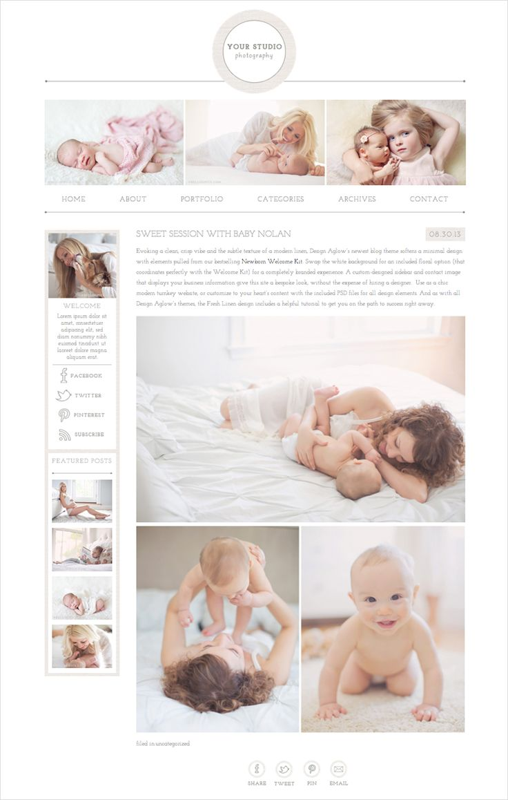 Evoking a clean, crisp vibe and the subtle texture of a modern linen, Design Aglow's newest blog theme softens a minimal design with elements pulled from our bestselling Newborn Welcome Kit. Swap t...