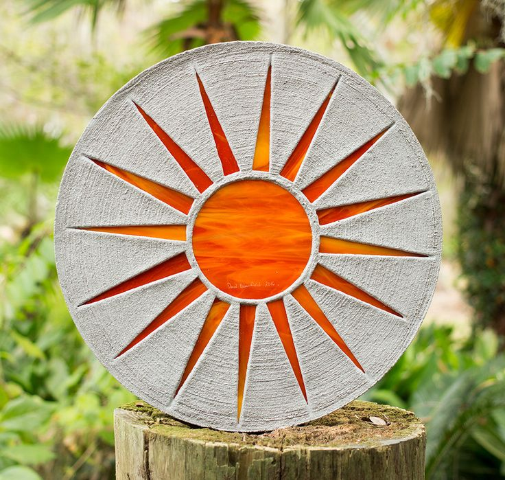 "Bright Orange Sun Stepping Stone 18"" Diameter Made of Concrete and Stained Glass Perfect for Your Garden Patio or Back Yard Pool Pond #130 by SteppingStoneYardArt on Etsy"