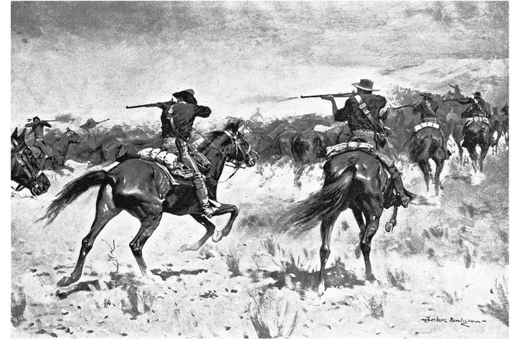"An illustration by Frederic Remington for the memoirs of Gen. Nelson A. Miles, who defeated Geronimo. Credit Frederic Remington, from ""Personal Recollections and Observations of General Nelson A. Miles."" Chicago: Werner Publishing Company, 1896."