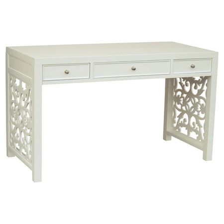 Perfect for penning thank you notes and making scrapbooks, this wood desk showcases 3 drawers and a beautiful open scrollwork detail.    ...