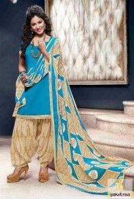 Hina Khan Special Aqua Blue Punjabi Patiala Salwar Suit Online