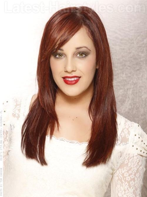 Hairstyle with Side Swept Bangs Long layered shag with face framing ...