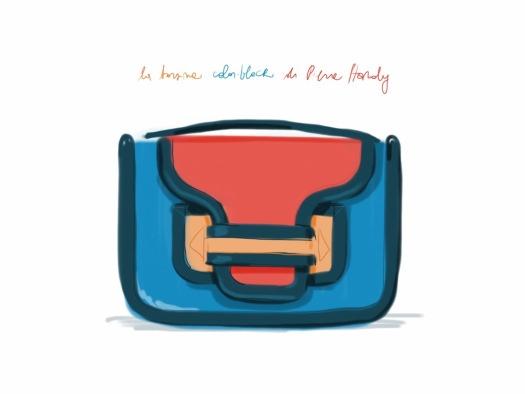 Color-block bag, Pierre Hardy.   #fashion #illustration Open Toe - opentoemag.wordpress.com