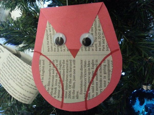 Eight free crafts for children during Holiday in the Grove, including this owl ornament made of newsprint, construction paper and googly eyes | OregonLive.com