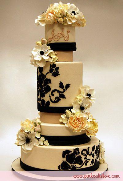 .: Cakes Ideas, Pink Cakes, Gorgeous Cakes, Modern Wedding Cakes, Cakes Boxes, Beautiful Cakes, Cakes Wedding, Black Wedding Cakes, Sugar Flowers