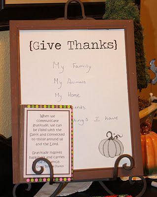 Scatter Sunshine: LDS Activity Day- Gratitude white board frames.