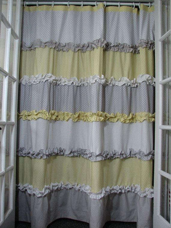 yellow and grey shower curtain by giulianadesign on etsy bathroom upgrade pinterest yellow. Black Bedroom Furniture Sets. Home Design Ideas