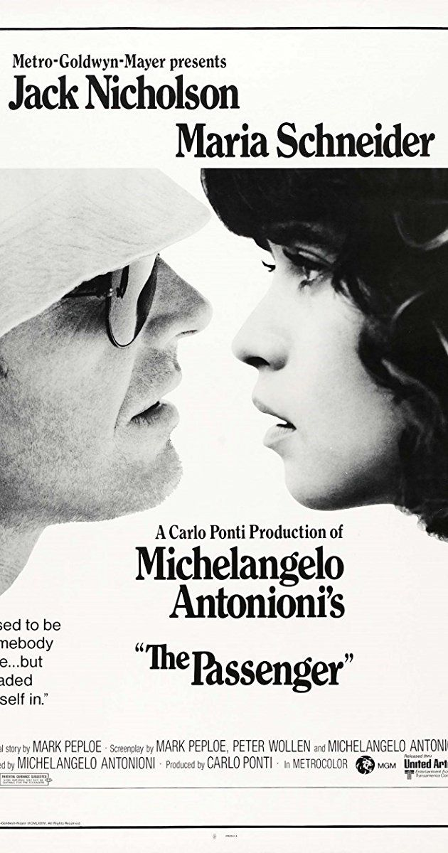 Directed by Michelangelo Antonioni.  With Jack Nicholson, Maria Schneider, Jenny Runacre, Ian Hendry. A frustrated war correspondent, unable to find the war he's been asked to cover, takes the risky path of co-opting the I.D. of a dead arms dealer acquaintance.