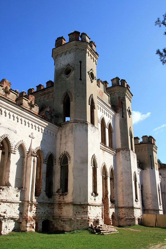 Kosava Castle, a ruined neo-Gothic castle located in Kosava Belarus.