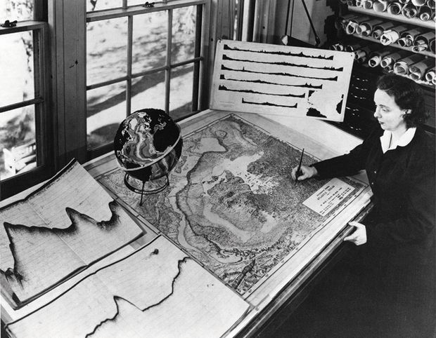Marie Tharp spent the fall of 1952 hunched over a drafting table, surrounded by charts, graphs, and jars of India ink. Nearby, spread across several additional tables, lay her project—the largest and most detailed map ever produced of a part of the world no one had ever seen... How One Woman's Discovery Shook the Foundations of Geology | Mental Floss
