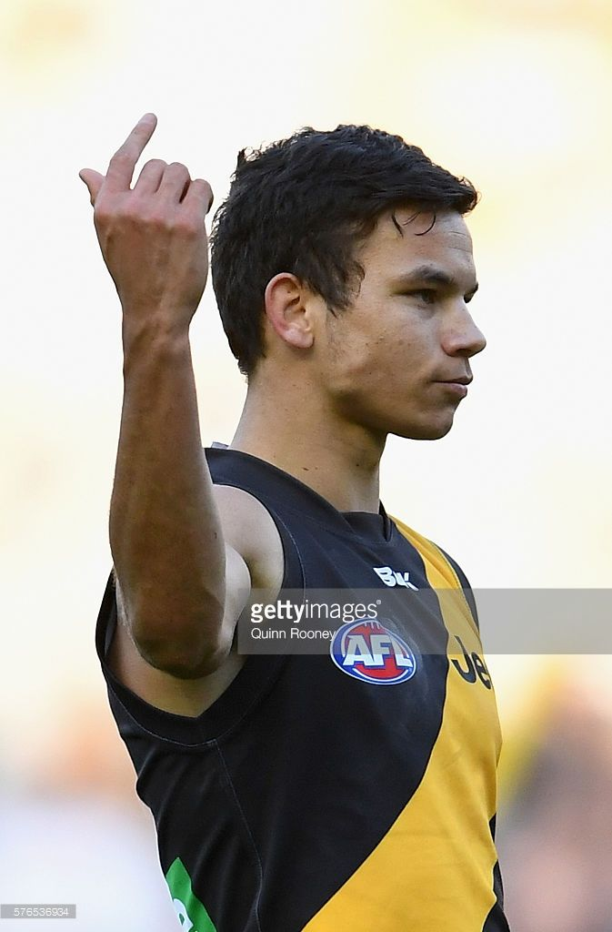 Daniel Rioli of the Tigers celebrates after kicking a goal during the round 17 AFL match between the Richmond Tigers and the Essendon Bombers at Melbourne Cricket Ground on July 16, 2016 in Melbourne, Australia.