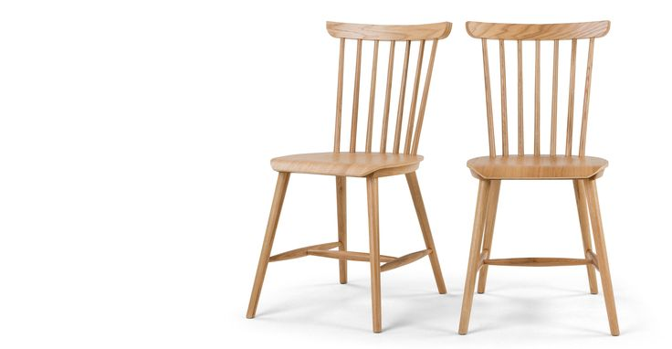 Set of 2 Deauville Dining Chairs, Oak