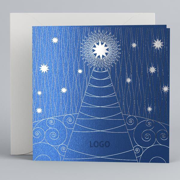 Blue Corporate New Year Cards UK - Fancy Tree in Blue - Polina Perri