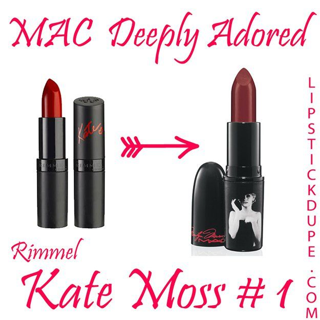 MAC Deeply Adored / Rimmel Kate Moss #1 | MAC Lipstick Dupes We Can't Live Without, check it out at http://makeuptutorials.com/mac-lipstick-dupes-makeup-tutorials