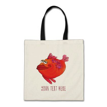 Funky Fish Art Pink and Red Tote Bag - accessories accessory gift idea stylish unique custom