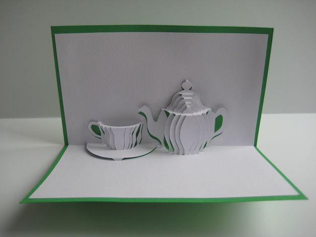 Pop-Up-Karten - Pop-Up Karte - Kaffee / Tee-Pause - ein Designerstück von Bastel-Preussin bei DaWanda