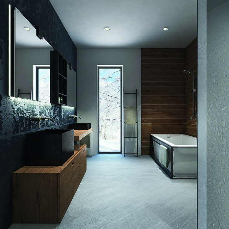 Bathroom visualization with relaxing lighting scheme with #Intralighting Pipes.