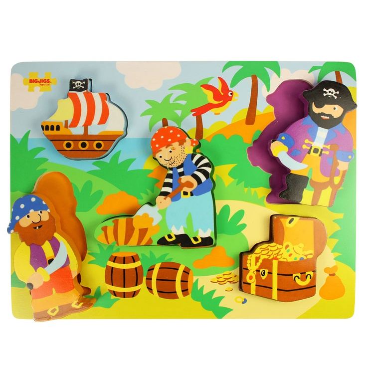 Arr! Little sailors will love this bright and busy chunky lift out puzzle, designed in a pirate theme. The pieces are perfectly sized for little hands, and the pegs make them easy to remove and replace. Perfect for developing dexterity and coordination and also ideal for using as stand alone play pieces.