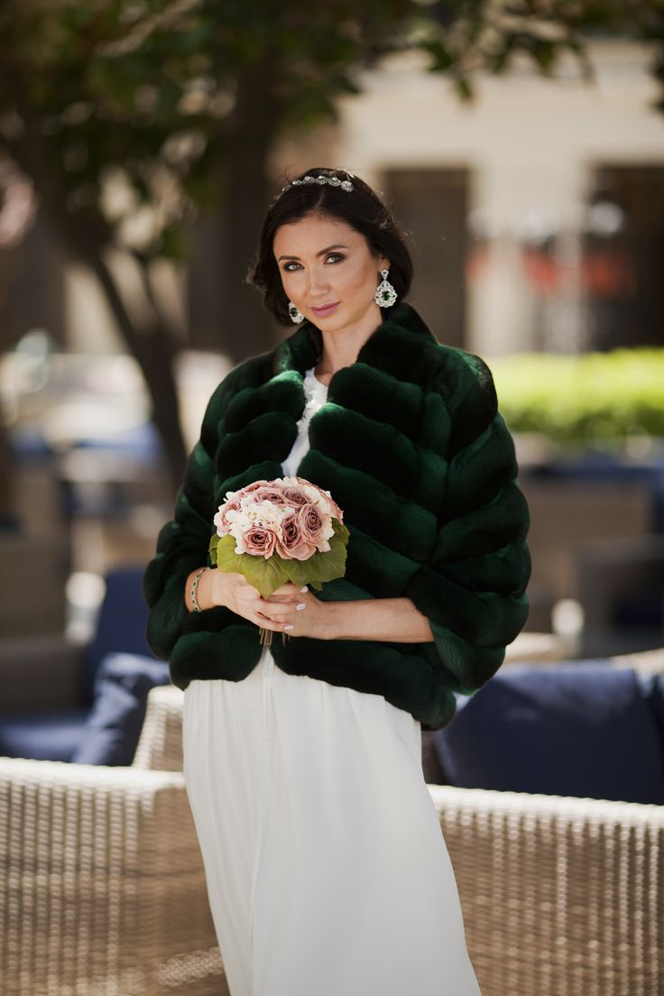 Be different and unique in your special day with ‪#‎ADAMOFUR‬ . Instead white try emerald green, which will bright your bridal outfit on whole new level. Chinchilla emerald fur coat is available in our stores and via What's App #bride #fur #chinchillafur