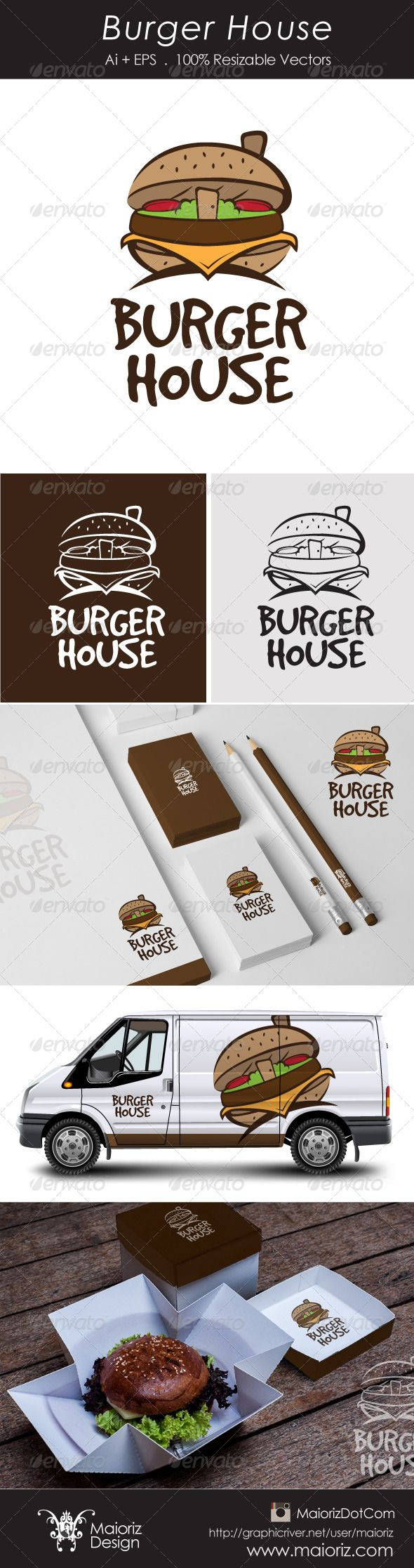 Burger House Logotype #GraphicRiver File Description This is custom logo template. Illustrator (AI), Vector (EPS) logo files included in this download. You can customize to your own branding. All colors and text can be modified. FEATURES The Logo Is 100% Vector. 100% Customizable. Fully Layered Logo Template. CMYK. High Quality. AI, EPS 8/10. Not Include Mockups identity, Burger or truck. Font Used: GoodDog .fontsquirrel /fonts/GoodDog Created: 6November13 GraphicsFilesIncluded…