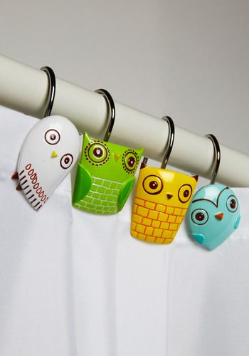 I love the blue owl super adorable! Owl Clean Shower Curtain Rings -ModCloth