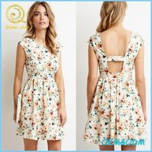 Women's Wearing Sleeveless Cutout-Back Floral Print Cotton Dress Best Buy follow this link http://shopingayo.space