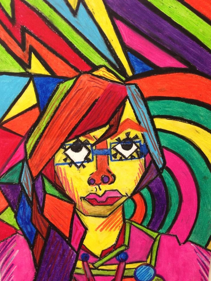 Cubist portrait in oil pastel #1-8th grade advanced art ...