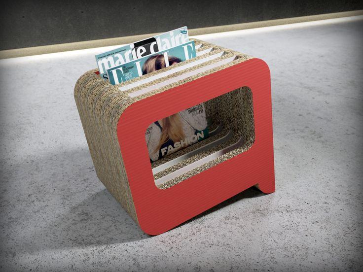 Revistero Bla Bla Bla es una de las piezas de mobiliario realizado en cartón del catálogo de Dcarton. Dcartón es un proyecto que apuesta por la utilización de este material como vehiculo para  introducir en los hogares, empresas, centros públicos y privados etc piezas de diseño ecólogico e innovador. Los muebles de Dcartón se fabrican por apilamiento y encolado de planchas de cartón de alta dureza y resistencia y madera DM 3 mm lacada en sus caras exteriores. Medidas: 350 x 260 x 340 mm $50